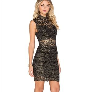 Nightcap Dixie lace mini dress metallic
